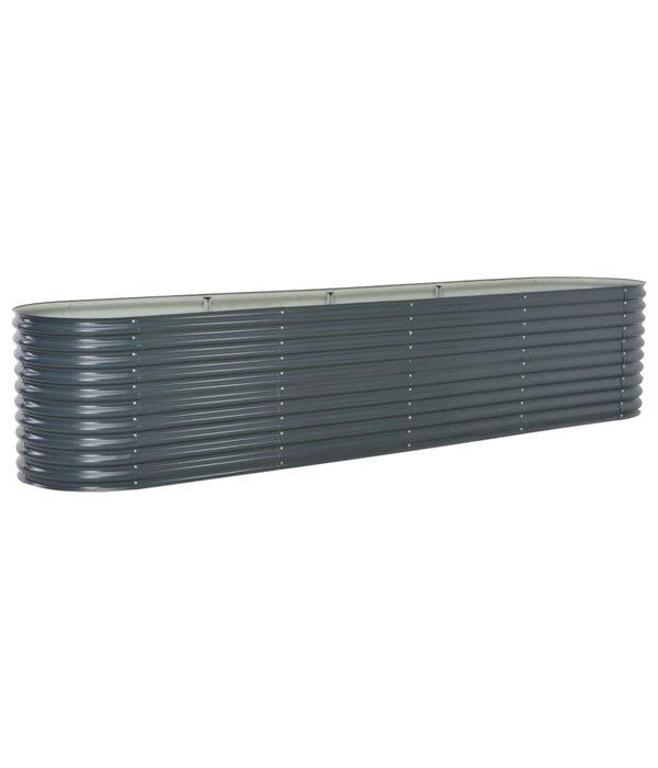 vidaXL Plantenbak 400x80x81 cm gegalvaniseerd staal grijs