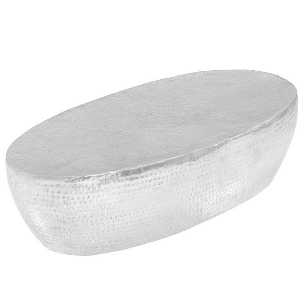 salontafel 100x50x28 cm gehamerd aluminium zilver