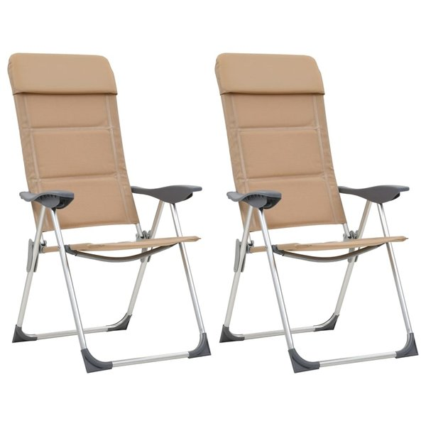 Campingstoelen 2 st 58x69x111 cm aluminium crème