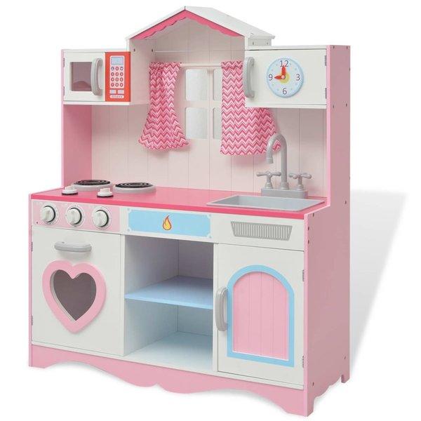 Speelgoedkeuken roze en wit 82x30x100 cm hout