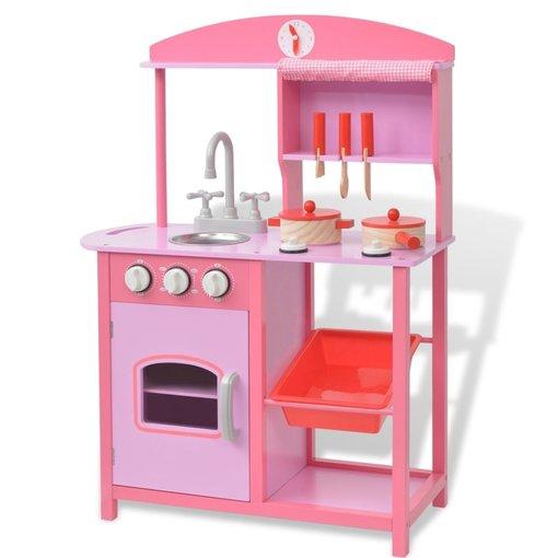 vidaXL Speelgoedkeuken roze 60x27x83 cm hout