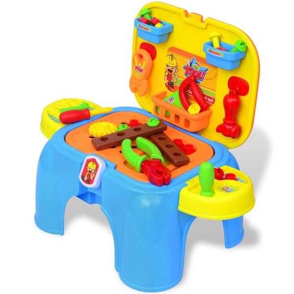 Speelgoedwerkbank met gereedschap voor kinderen kinderkamer blauw + geel