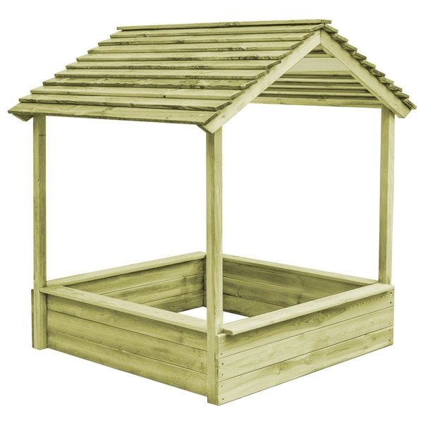 Buitenspeelhuis met zandbak 128x120x145 cm FSC grenenhout