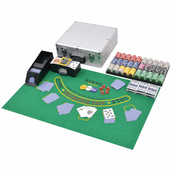Poker/blackjack set met 600 chips aluminium