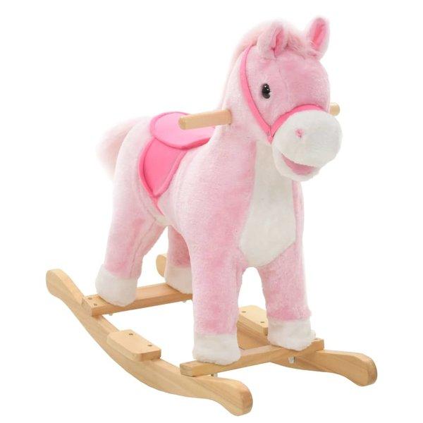 Hobbeldier paard 65x32x58 cm pluche roze