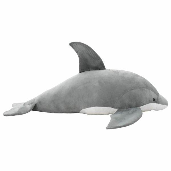 Knuffel dolfijn pluche grijs