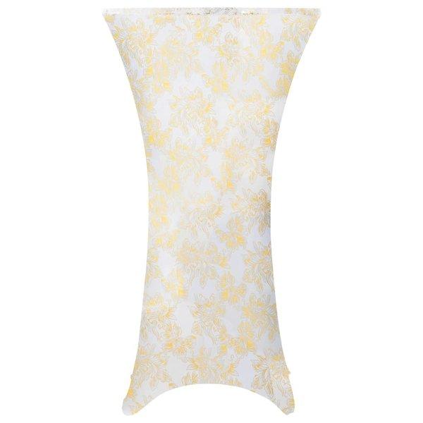2 st Tafelhoezen stretch 70 cm wit met gouden opdruk