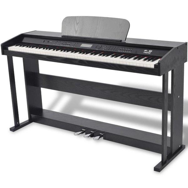 Digitale piano met pedalen 88 toetsen zwart