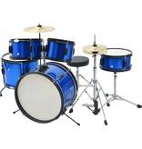 vidaXL Compleet drumstel gepoederlakt staal blauw junior