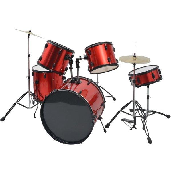 Complete drumstel gepoedercoat staal rood volwassene