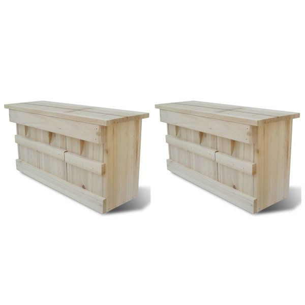 Mussenhuizen 2 st 44x15,5x21,5 cm hout