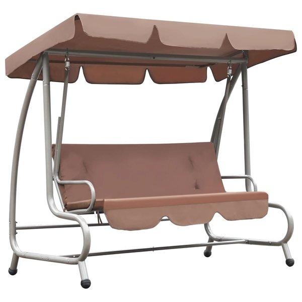 Schommelstoel voor buiten met luifel koffiekleurig