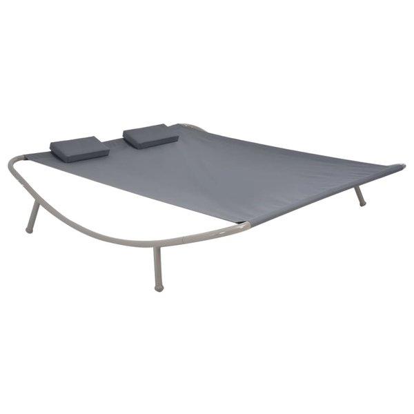 Loungebed tweepersoons 200x173x45 cm staal antraciet
