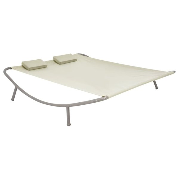 Loungebed tweepersoons 200x173x45 cm staal crème