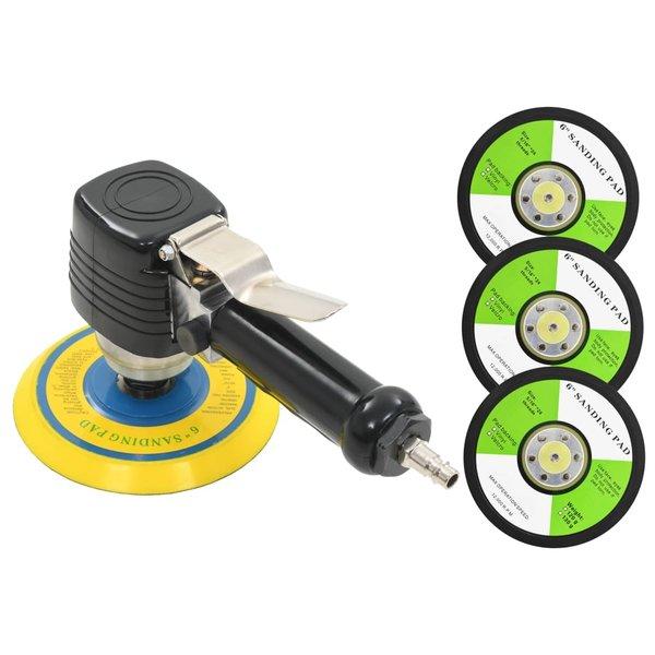 Pneumatische vlakschuurmachine met handvat en schuurpads 150 mm