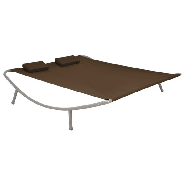 Loungebed tweepersoons 200x173x45 cm staal bruin