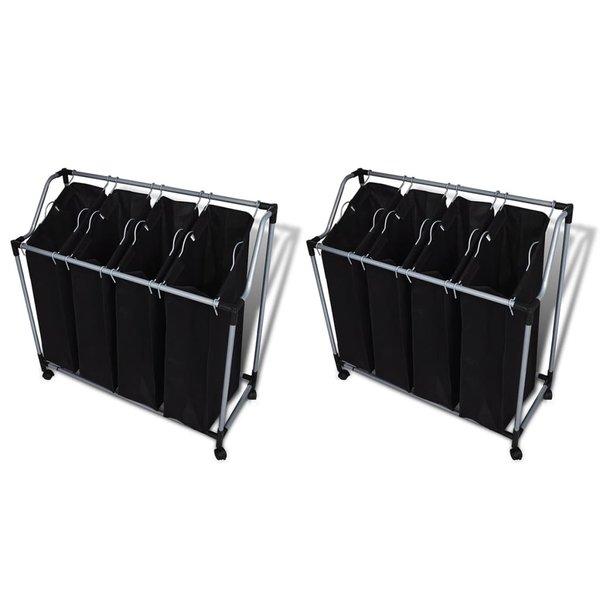 Wassorteerders met zakken 2 st zwart en grijs