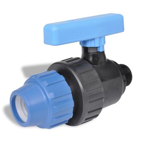 PE slangverbinding met kogelkraan kopp 16 bar 25mm tot 3/4 inch (2 st)