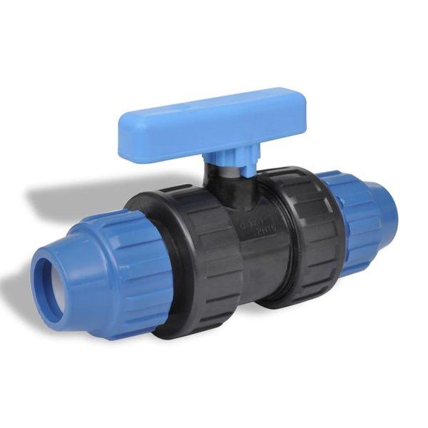 PE slangverbinding met kogelkraan koppeling 16 bar 20mm (2 stuks)