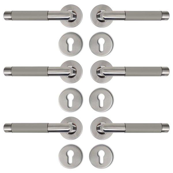 Deurklink RVS alternatief met cilinderrozet (3 sets)