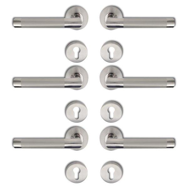 Deurklink gepolijst RVS cilinderrozet (3 sets)
