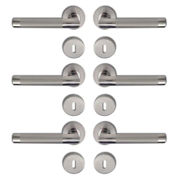 Deurklink gepolijst RVS sleutelrozet (3 sets)