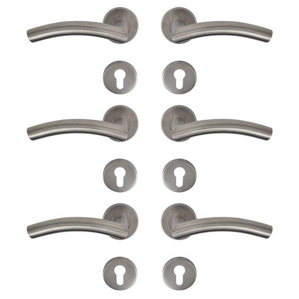 Deurklink set gebogen RVS cilinderrozet (3 sets)