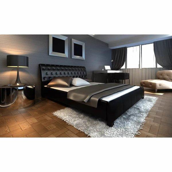 2-persoons bed Epica zwart leder 140 x 200