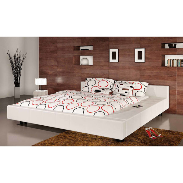 2-persoons bed Futon wit leer 140 x 200