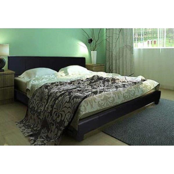 2-persoons bed van zwart leer 180 x 200 cm.