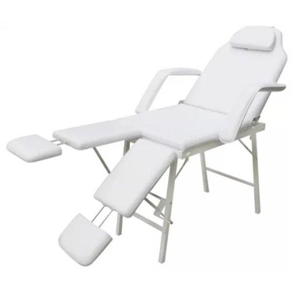 Behandelstoel wit met twee aparte beenleuningen