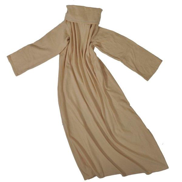 Fleece deken met mouwen beige