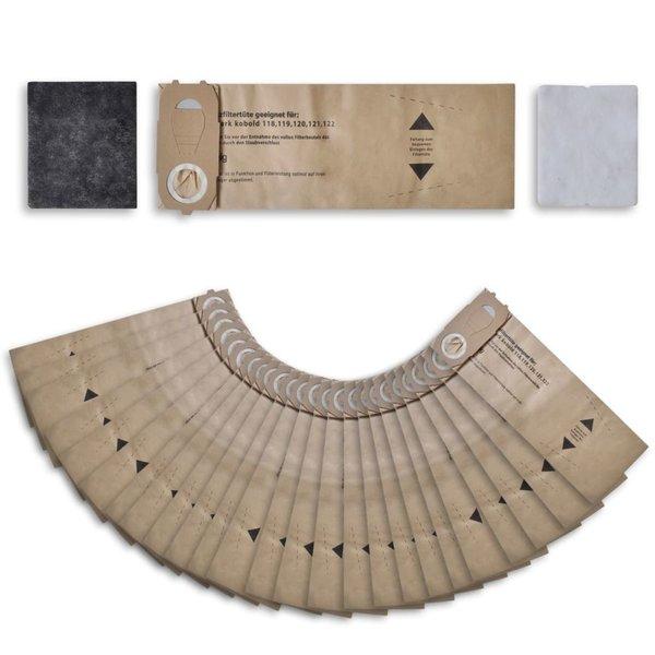 Stofzuigerzakken + Filters voor Vorwerk Kobold 118, 122 (25 stuks)