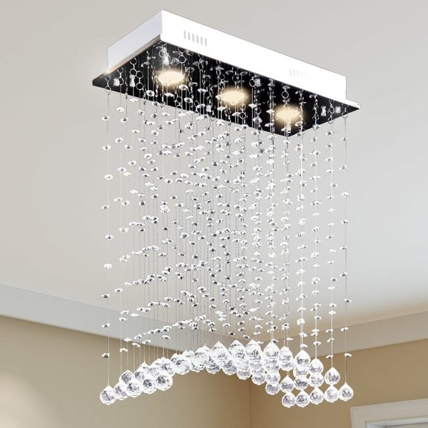 Plafondlamp met glinsterende glazen kristallen kralen 3xGU10 wit/58cm