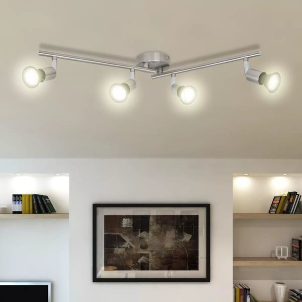 LED plafondlamp satijn nikkel (4 lampen)