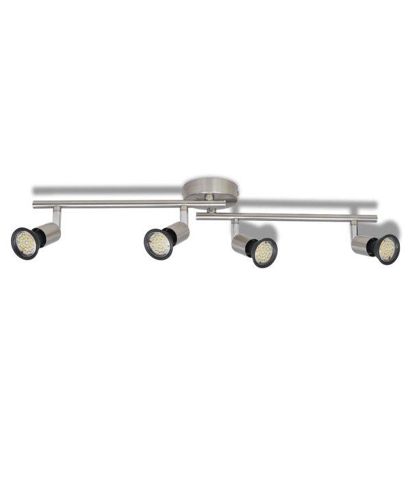vidaXL LED plafondlamp satijn nikkel (4 lampen)