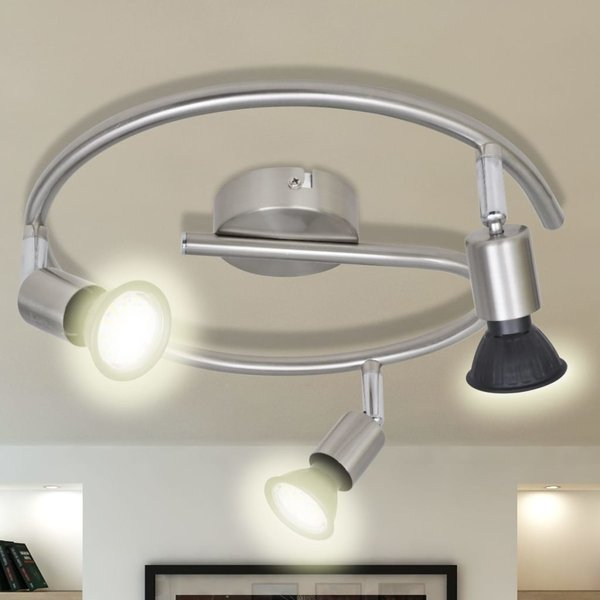 LED plafondlamp satijn nikkel (3 lampen)