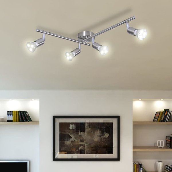 Plafondlamp 4-LED Spots nikkel