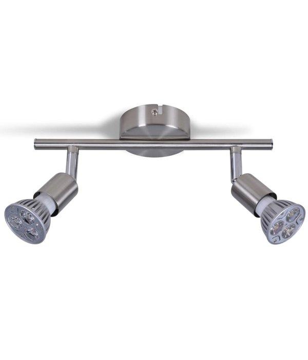 vidaXL 2-LED spots satijn nikkel plafond lamp