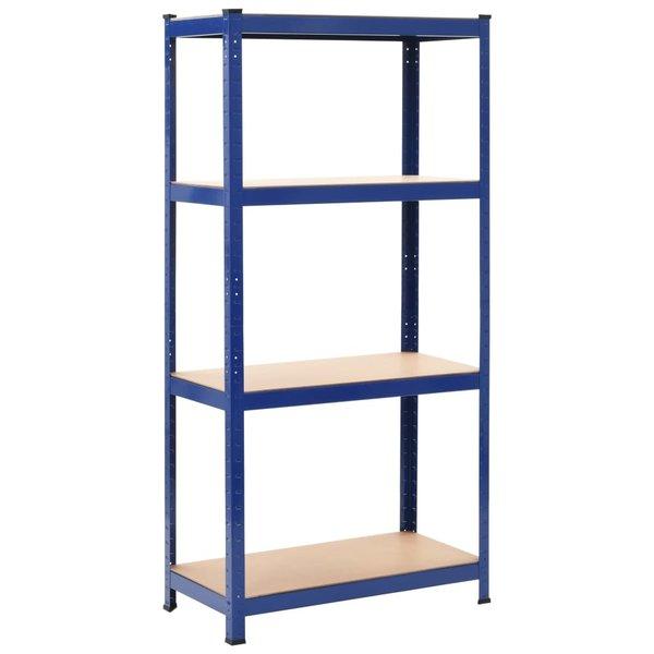 Opbergrek 80x40x160 cm staal en MDF blauw
