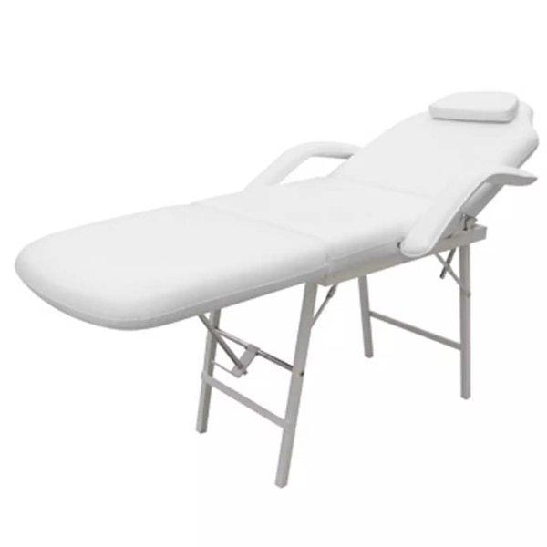 Behandelstoel verstelbaar kunstleer wit