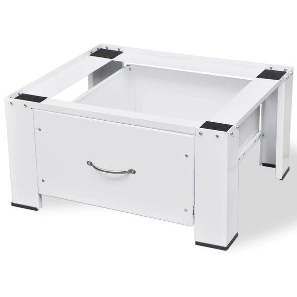 Voetstuk voor wasmachine met lade wit