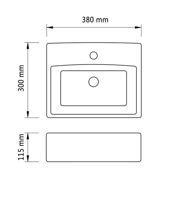 vidaXL Wastafel met kraangat 38x30x11,5 cm keramiek zilverkleurig