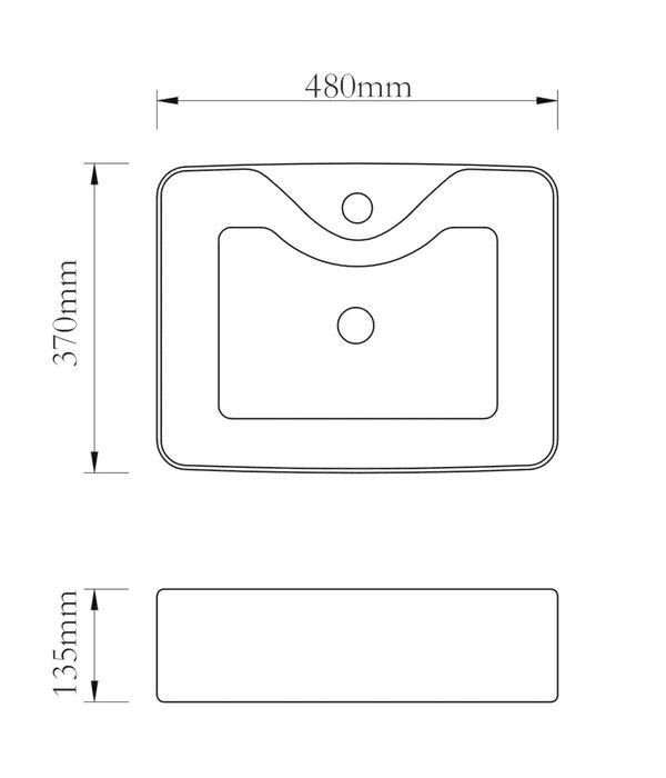 vidaXL Wastafel met kraangat 48x37x13,5 cm keramiek zilverkleurig