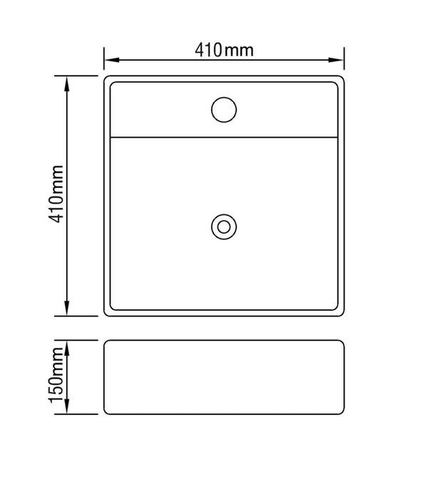 vidaXL Wastafel met overloop 41x41x15 cm keramiek zilverkleurig