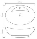 vidaXL Wastafel met overloop 58,5x39x21 cm keramiek zilverkleurig