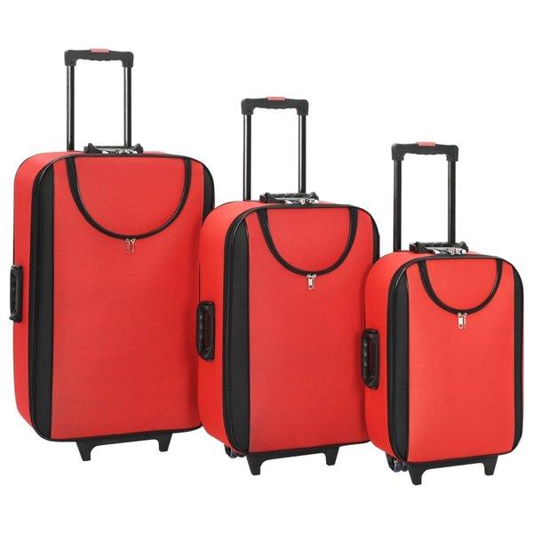 Zachte trolleys 3 st oxford stof rood