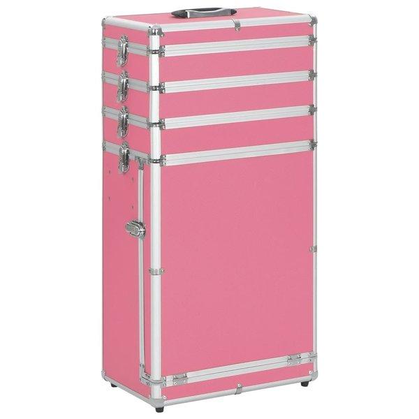 Make-up trolley aluminium roze