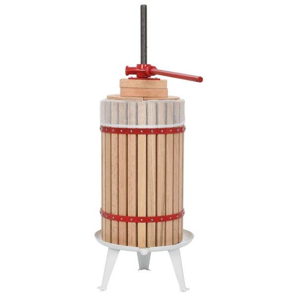 Fruit- en wijnpers met stoffen zak 30 L eikenhout