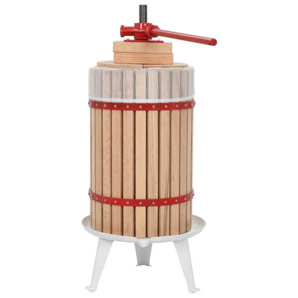 Fruit- en wijnpers met stoffen zak 24 L eikenhout